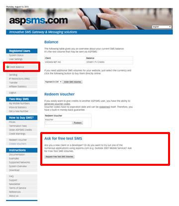 aspsms com - Test Credits