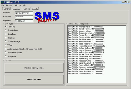 SMS Blaster Screenshot