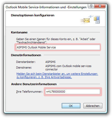 Outlook Mobile Service-Informationen und -Einstellungen