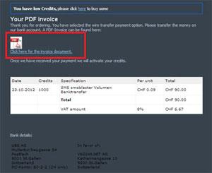 SMSBLASTER web edition - PDF Rechnung