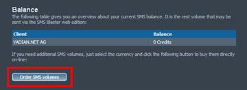 SMSBLASTER web edition - Balance
