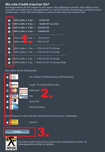 SMSBLASTER web edition - ASPSMS Credits Bestellen