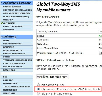 SMS in Outlook empfangen