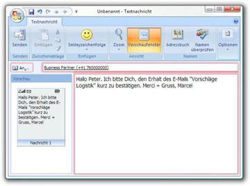 SMS bequem mit Outlook senden